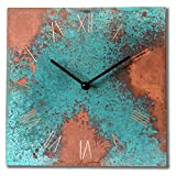 Cheap Patinated Copper Rustic Square Turquoise Wall Clock 10-inch – Silent Non Ticking Gift for Home/Office/Kitchen/Bedroom/Living Room