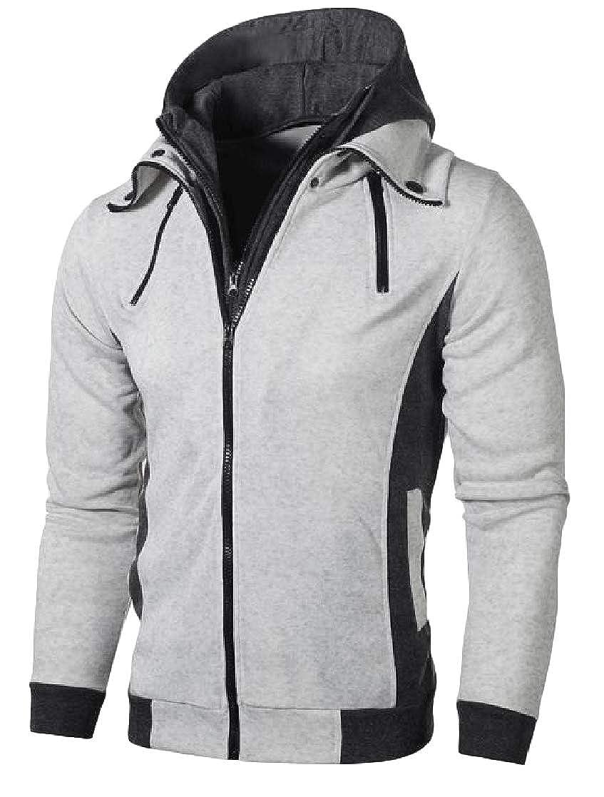 YUNY Men Pocket Zip Lounge Splice Hoodie Long Sleeve Sweatshirts Jacket Pattern1 L