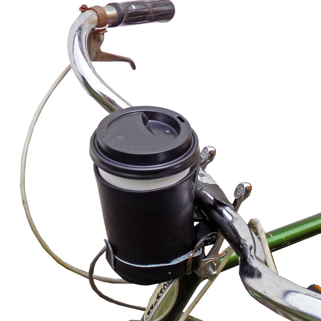 cruzy leather bike cup holder handmade by hide drink black ebay. Black Bedroom Furniture Sets. Home Design Ideas