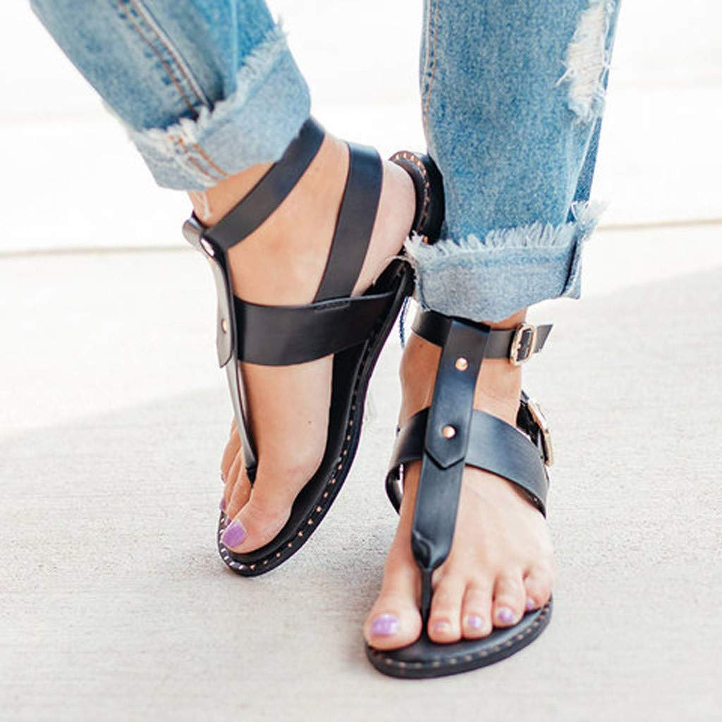 Women Fashion Flat Thong Sandals Wide Width Shoes Ladies Summer Snake Pattern Buckle Roman Sandals