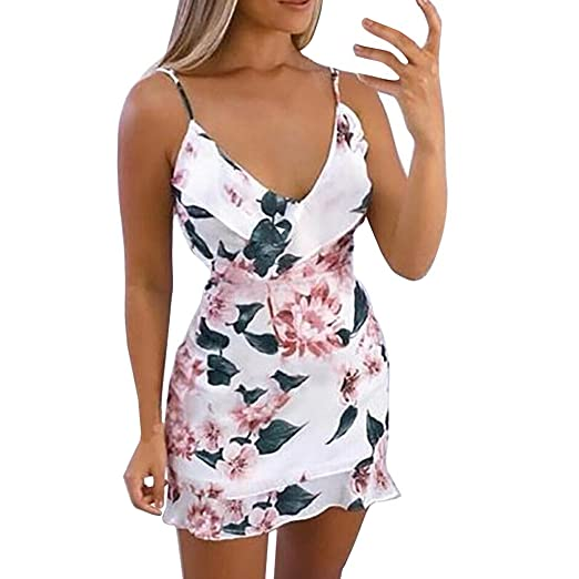 ab96c82674 Wintialy 2019 Womens Floral Printed Strappy Mini Dress Ladies Ruffle Summer  Beach Party Dress: Clothing