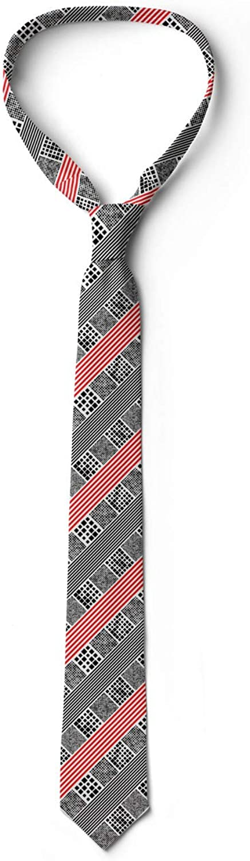 3.7 Modern Diagonal Stripes Ambesonne Necktie Vermilion Charcoal Grey