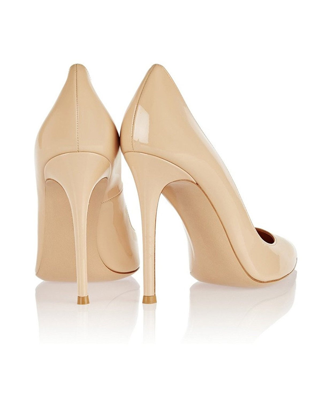 EDEFS Damen Pumps Stiletto High Heels Spitze Zehe Klassische Stiletto Pumps Schuhe Beige 83c3d1