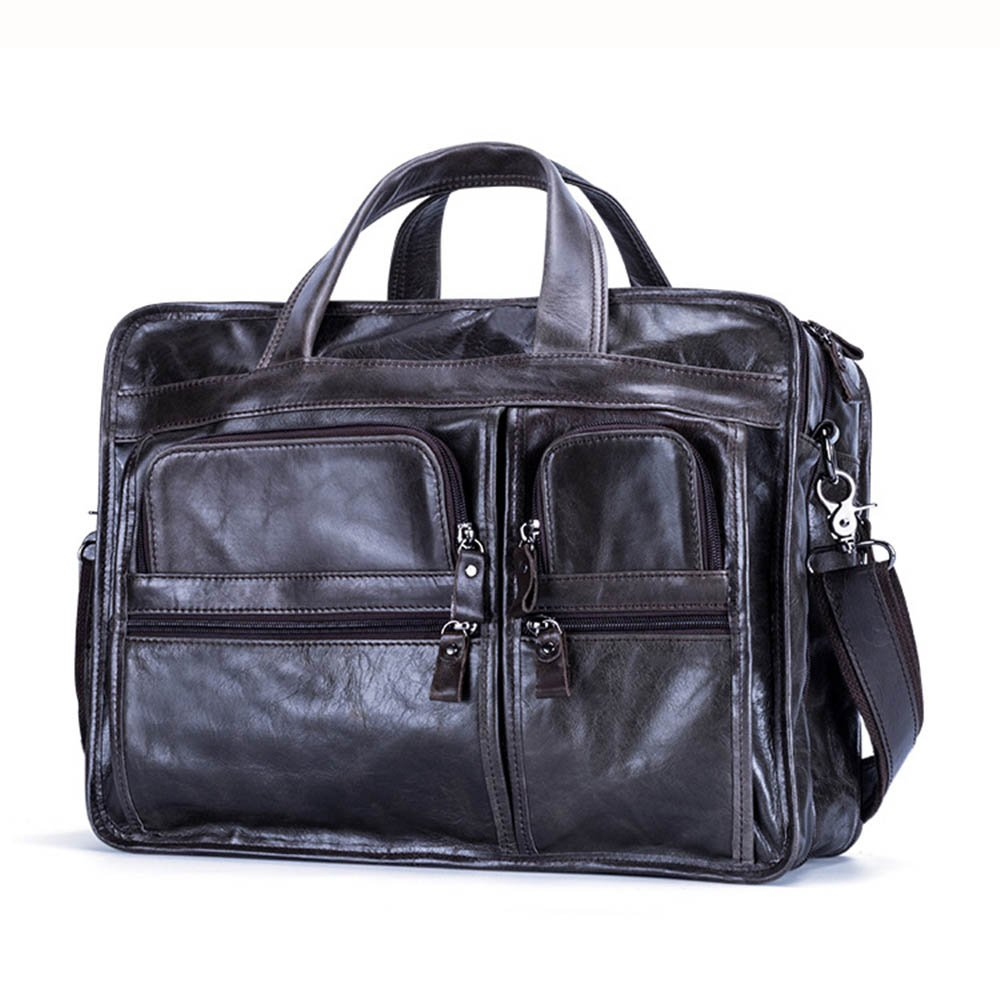 Color : Coffee Color Mens Office Business Briefcase Tote Shoulder Portable Travel Tote