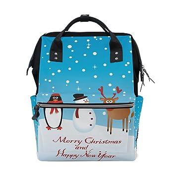 JSTEL - Bolsas para ordenador portátil, universidad, estudiante, viaje, muñeco de nieve y pingüino, para vacaciones, escuela, mochila: Amazon.es: ...