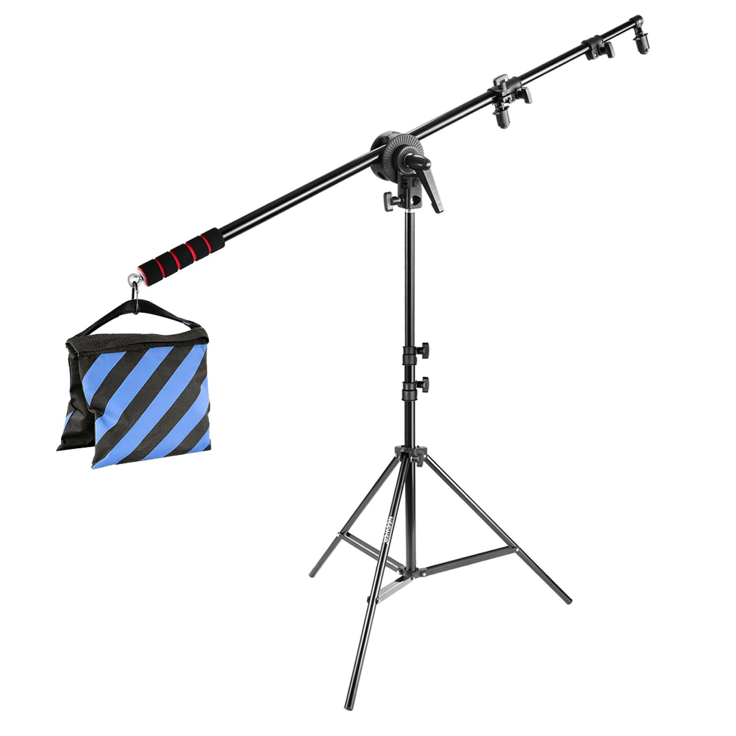Neewer Photo Studio Lighting Reflector Boom Arm Stand Kit:73 inches/185 centimeters Reflector Holder Bracket with Rubber Handle Grip, 75 inches/190 centimeters Light Stand,Adapter Clamp Pivot, Sandbag 10087777