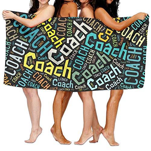 気候の山強打かるビーチバスタオル バスタオル コーチ Coach,黒,多カラー ビーチバスタオル 海水浴 旅行用タオル 多用途 おしゃれ White