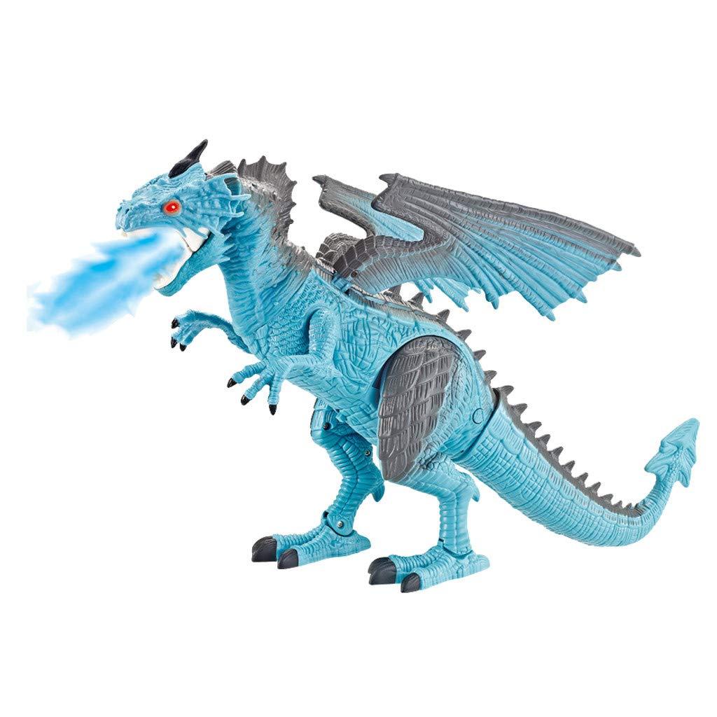 PSFS Remote Control Walking Dinosaur Toy,Fire Breathing Water Spray (Blue)