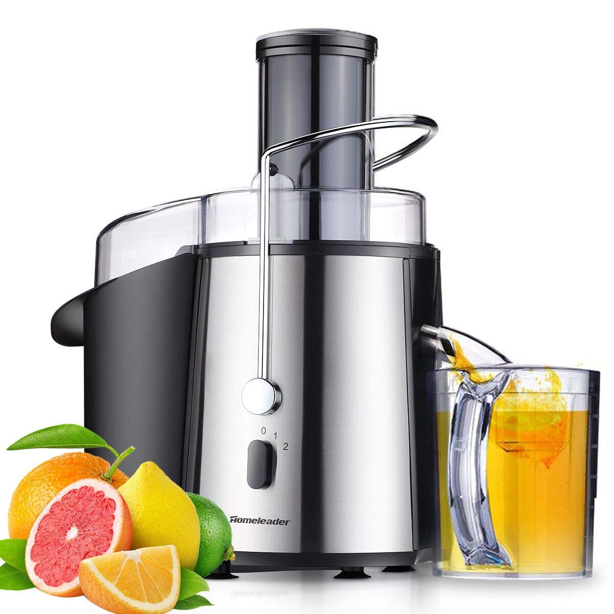 Homeleader Juicer Juice Extractor Wide Mouth Centrifugal Juicer,2 Speed Juicer Machine for Fruits and Vegetable,Stainless Steel,700 Watt K17-001