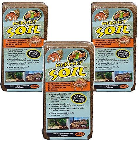 (3 Pack) Zoo Med Hermit Soil Coconut Fiber Brick 600g Each