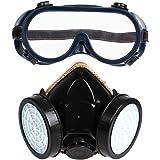 Demiawaking Masque à gaz de sécurité avec double cartouche et lunettes de  protection Filtre anti poussière e9a2653554b4