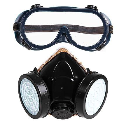 Demiawaking Masque à gaz de sécurité avec double cartouche et lunettes de protection  Filtre anti poussière aae22ded0a6c
