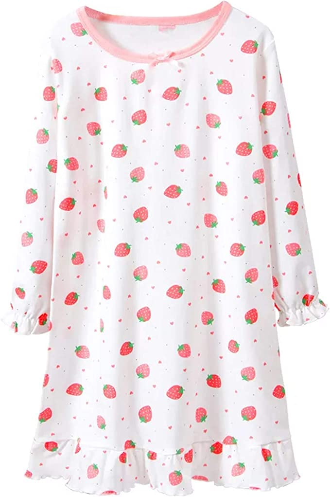 ABClothing Girls /& Mommy Matching Cotton Long Camicia da Notte Camicia da Notte Bianca Rosa 3-14 Anni S M L