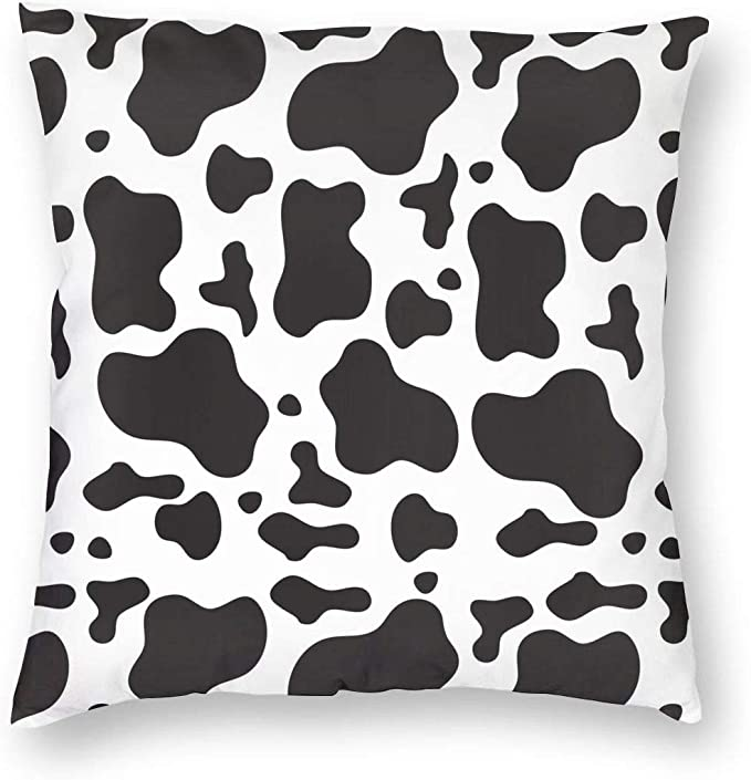 Wazhijia Cow Pattern Decorative Throw Pillow Covers 18 X 18 Inch Black And White Pattern Cotton Linen Cushion Cover Square Pillow Cases For Car Sofa Home Decor Home Kitchen