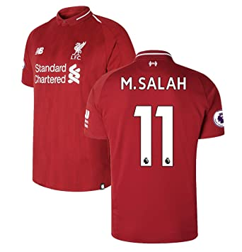 337aacc1663 2018-2019 Liverpool Home Mens  11 M Salah Socce Jersey Color Red Size S