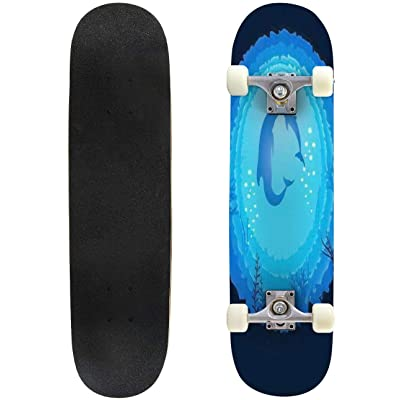 Classic Concave Skateboard Dolphin mom and Baby Underwater World Blue Water Longboard Maple Deck Extreme Sports and Outdoors Double Kick Trick for Beginners and Professionals : Sports & Outdoors