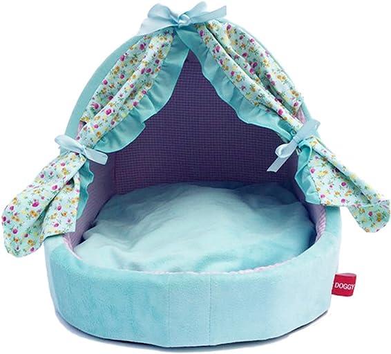 Blue Floral Pet Removable Washable Princess Chiffons House Beds