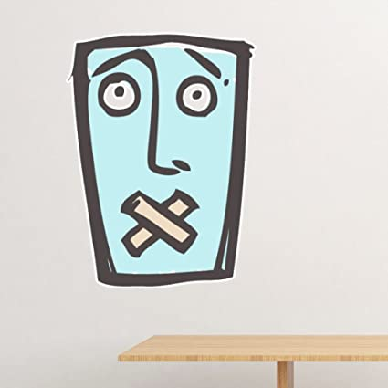 Shut Up Abstract Face Sketch Emoticons Online Chat Removable Wall Sticker Art Decals Mural DIY Wallpaper
