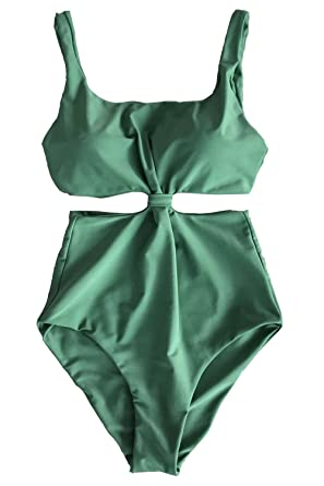 65cc699ebe CUPSHE Fashion Women's Double-Layered Padding One-Piece Swimsuit,Green