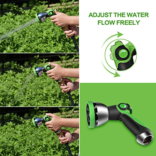 VicTsing Garden Hose Nozzle, Metal Hand Sprayer, No-Squeeze Sprayer with 10 Watering Patterns, Thumb Control, 10 Extra Rubber Washers Are Included, Great for Car, Garden, Pets and Other Home Needs