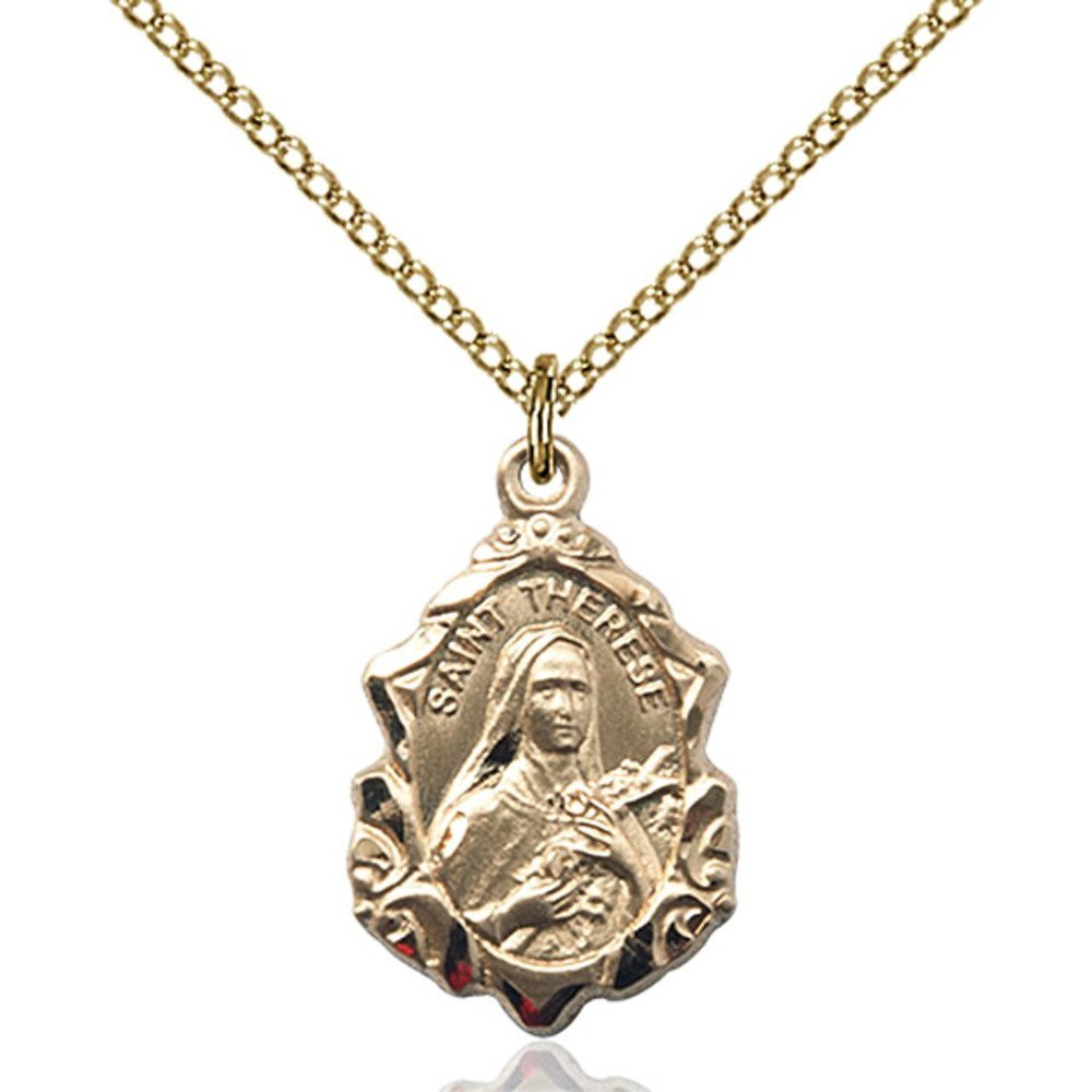Gold Filled St. Therese of Lisieux Pendant 7/8 x 1/2 inches with 18 inch Gold Filled Curb Chain