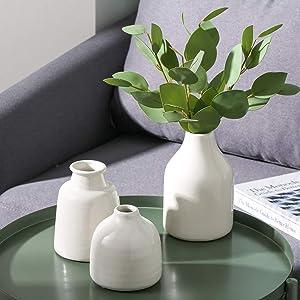 BEC White Small Ceramic Vases Set of 3 for Flowers Modern Floral Vase Living Room Decor Home Decoration