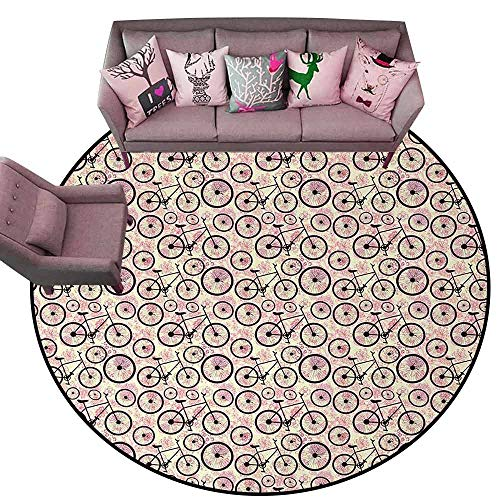 - Non-Slip Modern Carpet Bicycle,Romantic Doodle Drawing with Pink Blossoms Fun Activity Youth,Dark Brown Pink Pale Yellow Diameter 60