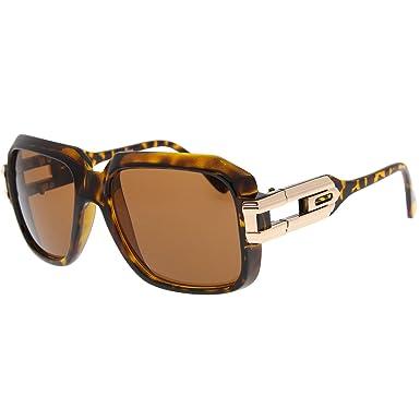 3ce6628048d3 Tortoise Large Classic Retro Sunglasses Square Frame RUN DMC Hip-Hop  Grandmaster Glasses  Amazon.co.uk  Clothing