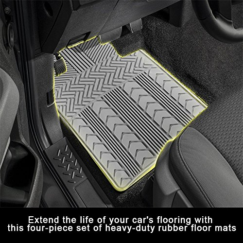 Laser-Cut Floor Mats Rubber 4-Piece Arrow-Style Protects Against Spill, Stains, Dirt and Any Debris Embossed Design Anti-Fade Fit Inside Your Vehicle Coloring Non-Skid Backing Weatherproof Grey