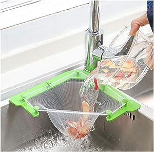 Triangle Tri-Holder Filter, Sink Strainer Bag sink net, Sink Fine Net Mesh Bag, Hanging Net Drain Basket Leftovers Soup Sink Garbage Storage Rack Holder(1 Holder + 100 PCS filters)