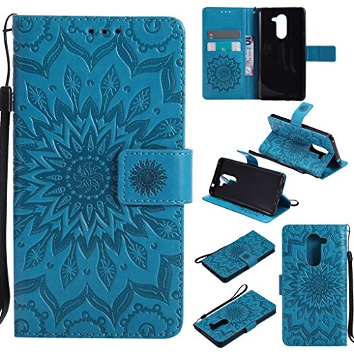Huawei Honor 6x Case Cover,SMYTU Premium Emboss Sunflower Flip Wallet Shell PU Leather Magnetic Cover Skin with Wrist Strap Case For Huawei Honor 6 x 2017 (Blue)