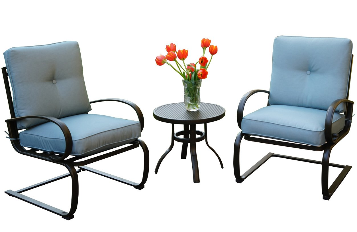 Kozyard Susan 3 PCs Patio Bistro Set Outdoor Furniture for Patio, Garden, and Yard with Cushioned Seats Blue