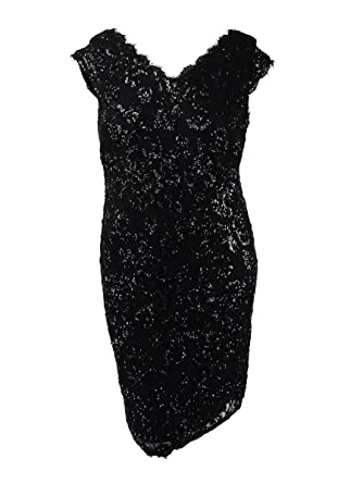126aea1dbe Image Unavailable. Image not available for. Color  Betsy   Adam Women s  Plus Size Sequined Lace Sheath Dress ...
