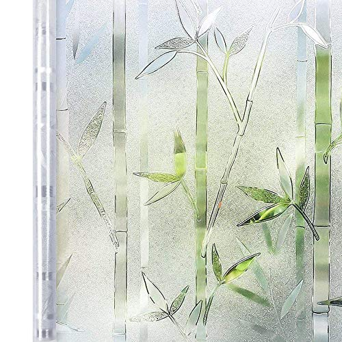 Homein Window Film Privacy, 3D Crystal Clear Bamboo Decorative Stained Glass Window Film Removable Self Adhesive Glass Sticker Static Cling Vinyl Window Paper for Kitchen Office 35.4