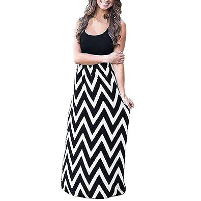 2dd98f65fcf999 Joy Dragon Fashion Plus Size Women Boho Wave Striped Print Summer  Sleeveless Tank Top Long Maxi