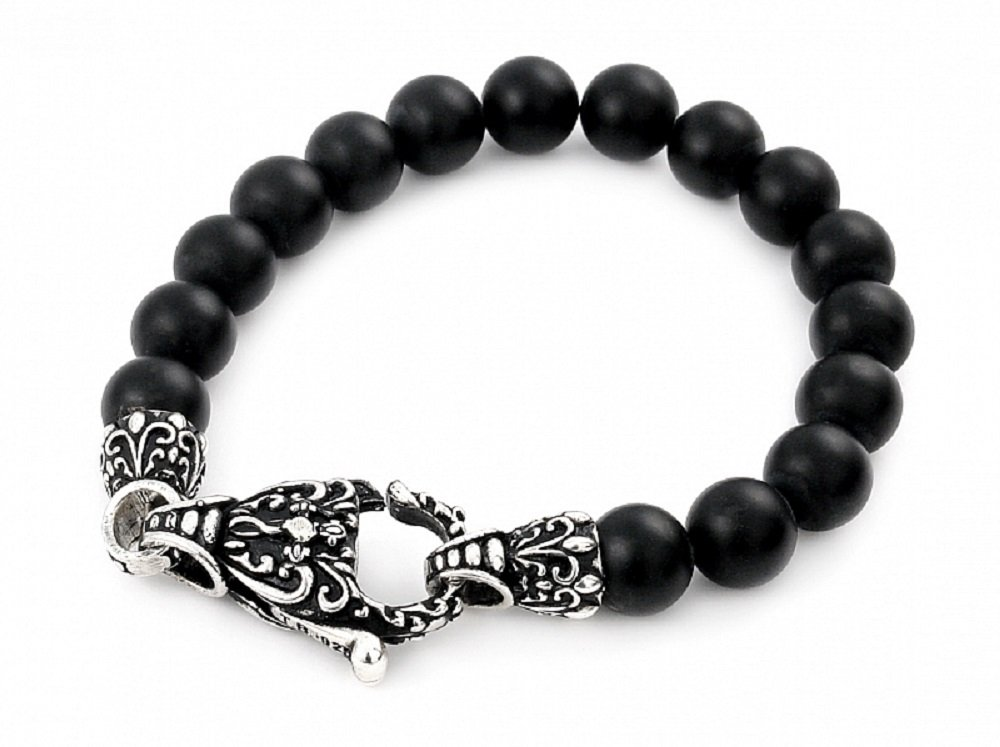 Twisted Blade Black Simulated Onyx Intricate Bead Bracelet 925 Sterling Silver 8''