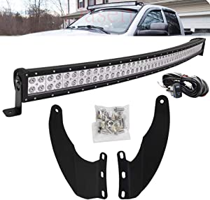 DaSen LED Light Bar w/Wiring Kit 52 Inch 300W Curved Upper Roof Windshield Mount Brackets Compatible with Dodge Ram 1500 02-08 & 2500/3500 03-09
