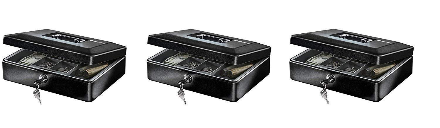 SentrySafe CB-12 Cash Box with Money Tray and Key Lock 0.21 cu Feet (Pack of 3) by SentrySafe