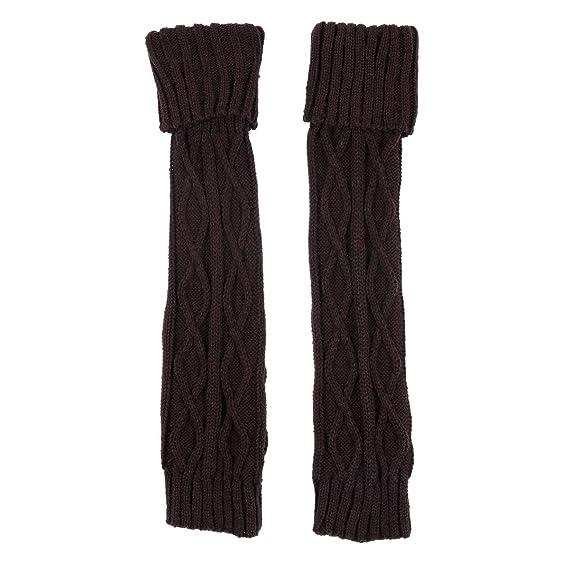 Tininna - Medias polainas invernales para mujer de cálida lana trenzada para botas altas café Talla única : Amazon.es: Ropa y accesorios