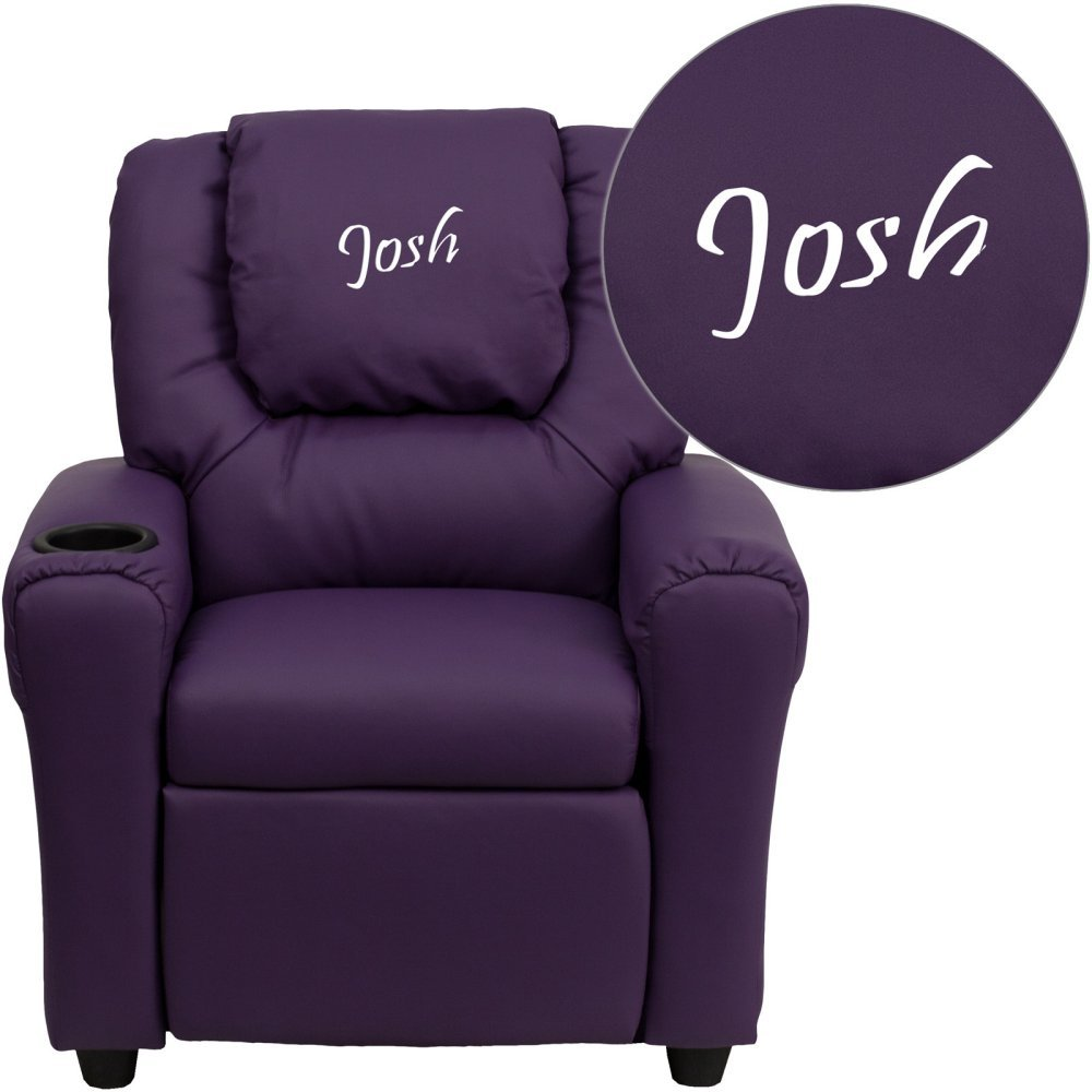 Flash Furniture Personalized Purple Vinyl Kids Recliner with Cup Holder and Headrest DG-ULT-KID-PUR-EMB-GG