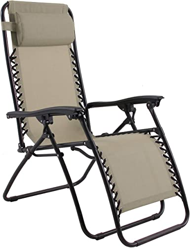 PHI VILLA Mesh Fabric Zero Gravity Lounge Chair Patio Folding Adjustable Recliner