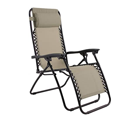 Captiva Designs Zero Gravity Textilene Lounge Folding Chair for Outdoor Patio Use, Light Brown