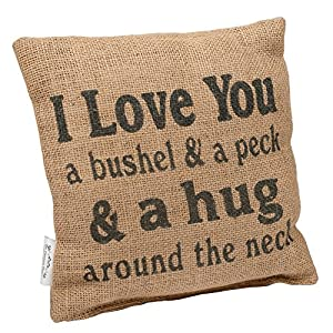 "Country House Collection 8″ x 8″ Mini Burlap Pillow ""Bushel and a Peck"