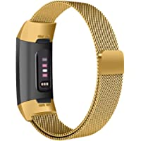GoStraps Mesh Metal Magnetic Stainless Steel Replacement Wristband - Compatible with Fitbit Charge 3/Fitbit Charge 3 SE/Fitbit Charge 4 (Small, Gold)