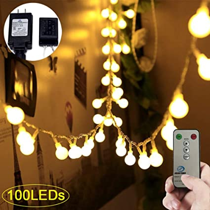 Adecorty Globe String Lights 100 LED Ball String Lights with Remote & Timer  UL Certified Fairy - Amazon.com: Adecorty Globe String Lights 100 LED Ball String Lights
