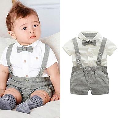 20c83394054 CHshe 2pcs Newborns Baby Boys Summer Short Sleeve Gentleman BowtieShirt +  Suspenders Shorts Party Outfits Clothes