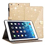 CXCase New iPad 9.7 2017 Case, Glitter Series - Card Slots, Magnetic Closure, Auto Sleep Wake Flip Leather Smart Case Cover With Adjustable Stand For Apple iPad 9.7-inch 2017, iPad Air 2 -Gold