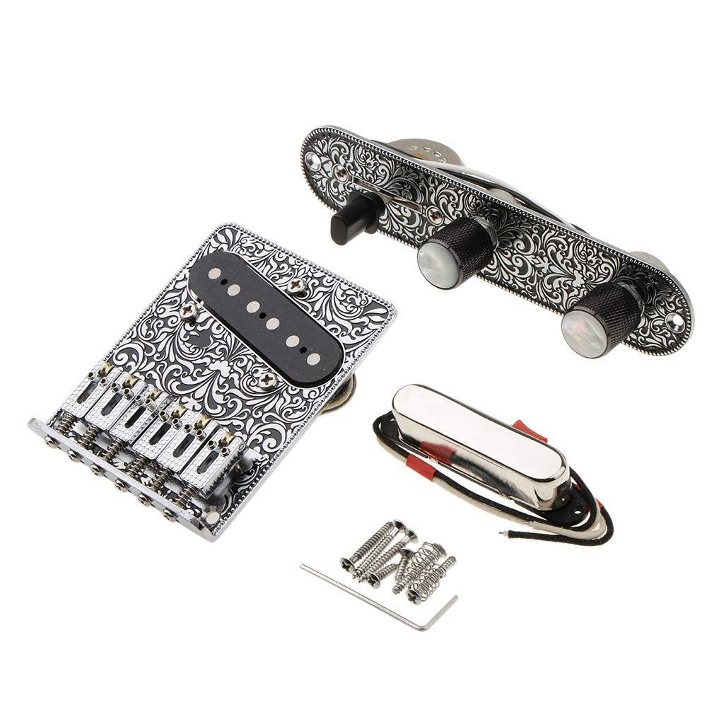 3 Way Switch Control Plate, 6 Saddle String Bridge, Neck Pickup Set for Fender Telecaster Electric Guitars Replacement Parts - Black Embossed Flowers Non-brand 612737ae8a180761a14d29b40f6e4760