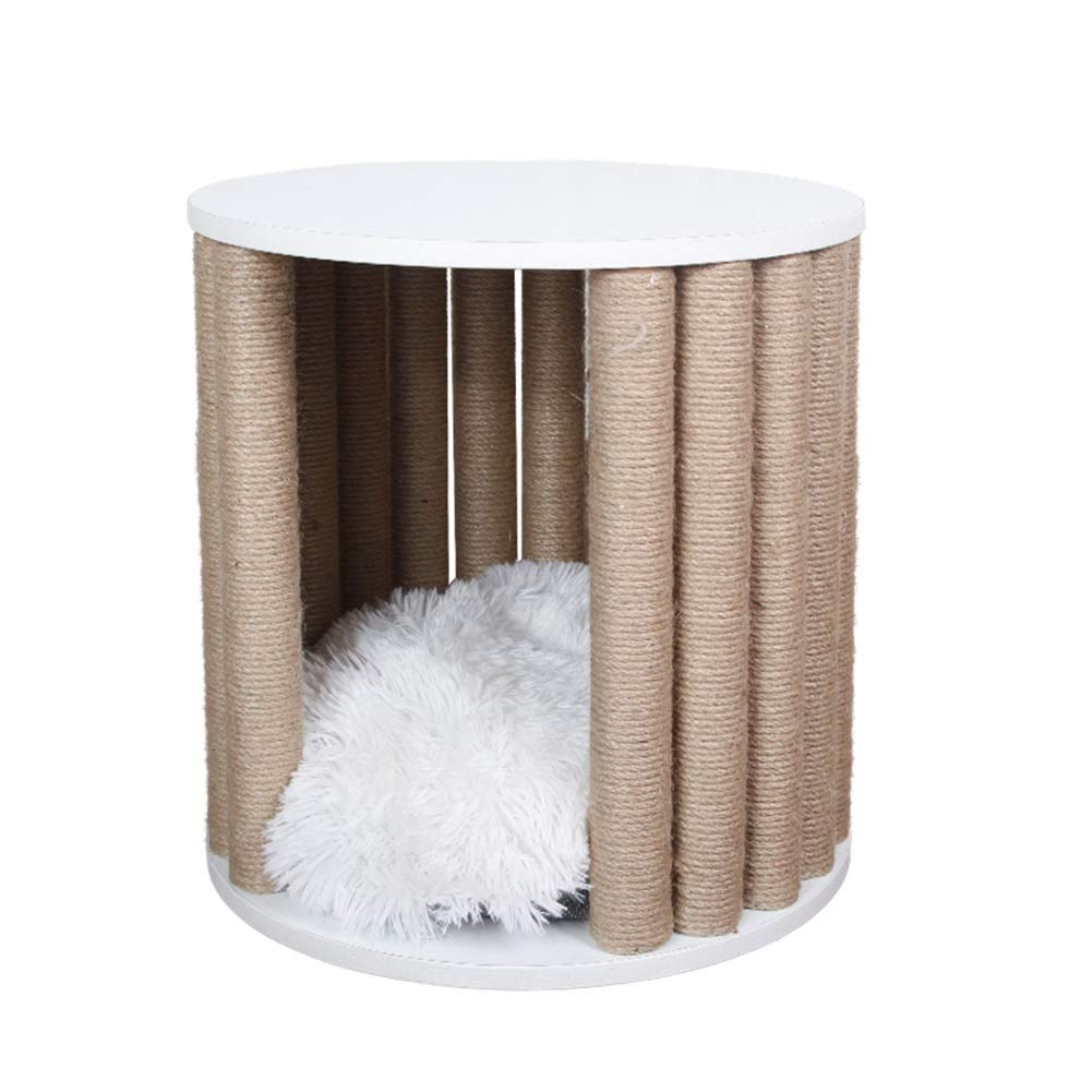 Beige 40x40x42cm Beige 40x40x42cm SHIJINHAO-Cat tree Climbing Tower Stable Durable Sisal Grinding Claw Cylinder Small Size Super Load Bearing Pet Furniture (color   Beige, Size   40x40x42cm)