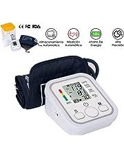 WOTOW Tensiómetro de Brazo, Brazo monitor de presión arterial, transmisión automática de la presión arterial monitores pantalla LCD portátil Monitor de latido irregular con brazalete ajustable y bolsa de almacenamiento alimentado (baterías no incluidas)